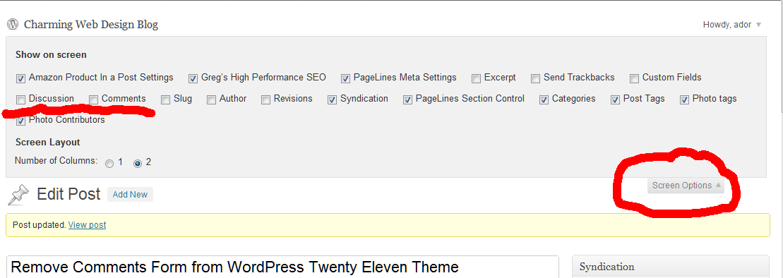 Remove Comments Form from WordPress Twenty Eleven Theme screenshot