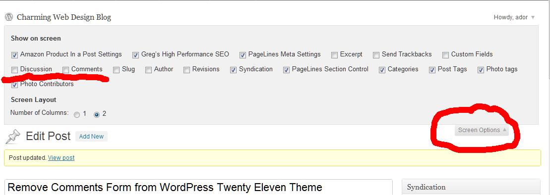 Remove Comments Form from WordPress Twenty Eleven Theme screenshot
