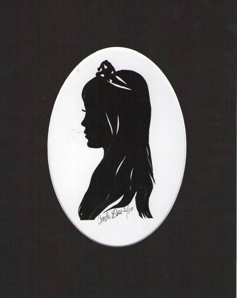 "Here a silhouette made by Cindi Harwood Rose, of her popular daughter, Erica with her ""TErica"", real tiaras that Erica had designed to go on your ""crown chakra"" for healing with natural metals and gem-stones."