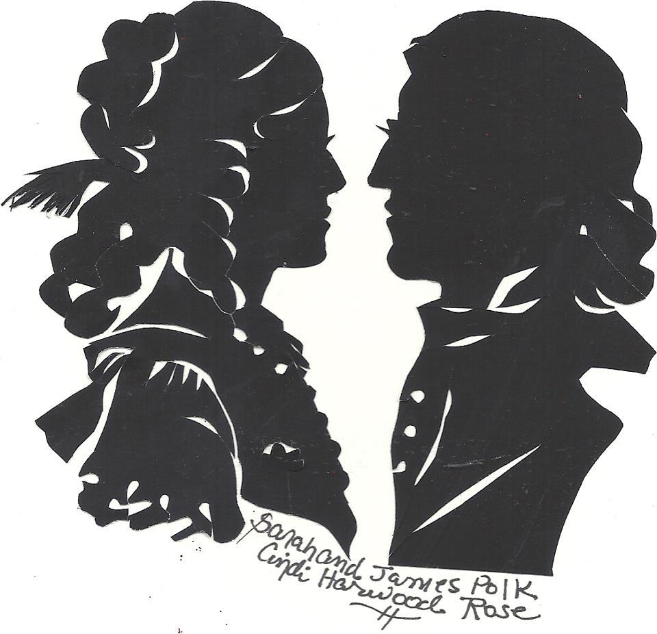 President James Polk Sarah Polk Silhouette Art