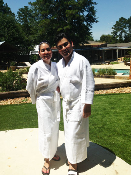 Beauty experts, Enid and Edward Sanchez get great detox and health tips at Deer Lake Lodge and Spa near Conroe, Texas. Note, real deer are seen, and many lakes and lovely hills, all around.