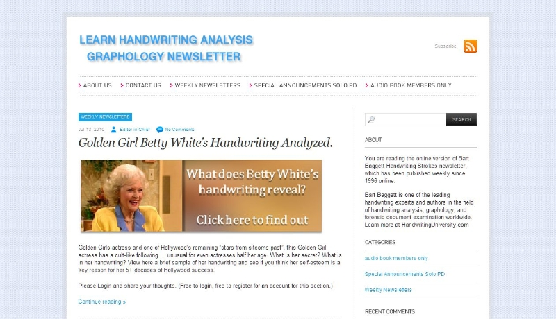 Learn Handwriting Analysis, Los Angeles